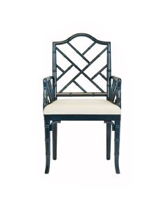 Worlds Away Bristol Chippendale Style Bamboo Dining Armchair in Navy Lacquer - ON BACKORDER UNTIL AUGUST 2021