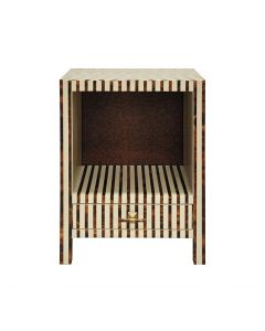 Worlds Away Bronx Striped One Drawer Side Table in Brown and White