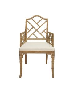 Worlds Away Chippendale Style Bamboo Dining Armchair in Brown Cerused Oak