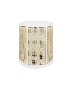 Worlds Away Freya Cane Side Table With Matte White Lacquer Wood Frame