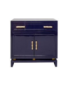Worlds Away Marcus Navy Lacquer Two Door Nightstand With Gold Bamboo Hardware