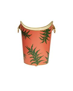 Worlds Away Oval Wastebasket with Lion Handles in Orange Palm - PREORDER FOR FEB 2021 DELIVERY