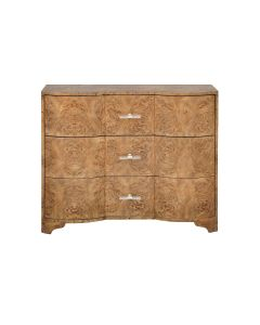 Worlds Away Plymouth 3 Drawer Chest in Dark Burl Wood With Acrylic Hardware - ON BACKORDER UNTIL LATE MAY 2021