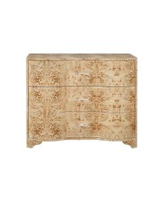 Worlds Away Plymouth Three Drawer Chest in Burl Wood with Acrylic Hardware