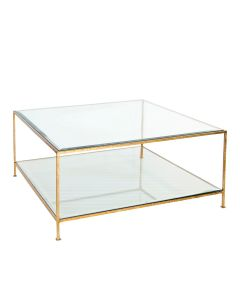 Worlds Away Quadro Two Tier Glass Square Coffee Table in Hammered Gold Leaf