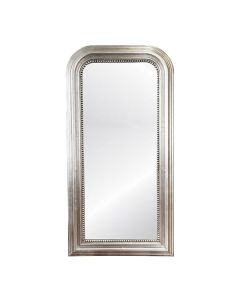 Worlds Away Waverly Hand Carved Silver Leaf Curved Top Rectangular Floor Mirror  - PREORDER FOR FEB 2021 DELIVERY