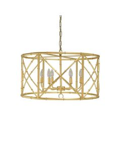 Worlds Away Zia 6 Light Bamboo Chandelier in Gold Leaf