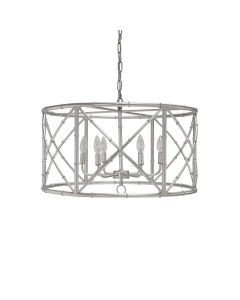 Worlds Away Zia 6 Light Bamboo Chandelier in Silver Leaf