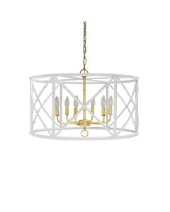 Worlds Away Zia 6 Light Bamboo Chandelier in White