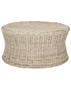 Woven Rattan Coffee Table / Ottoman in Natural - OUT OF STOCK