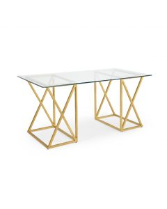 Wrought iron Desk with Antique Gold Leaf Finish and Glass Top