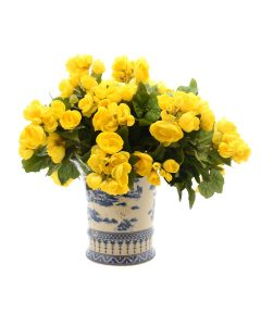 Yellow Faux Begonia Bush in Blue and White Vase