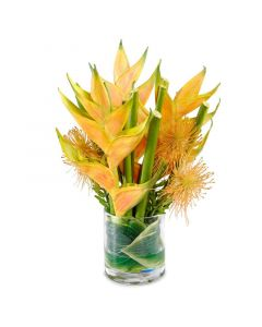 Yellow Faux Heliconia in Glass Cylinder