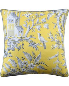 Yellow Garden Pagoda and Floral Decorative Square Pillow – Available in Two Sizes