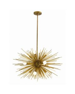 Arteriors Zanadoo Small Sunburst Sputnik Chandelier in Antique Brass