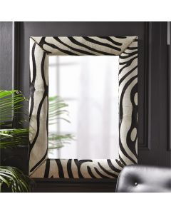 Zebra Print Leather Wall Mirror with Stud Accents