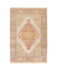 Zoe Tan and Rose Hand Knotted Classic Geometric Wool Area Rug - Available in a Variety of Sizes